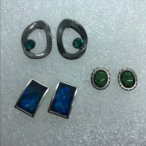 Lot of 3 pairs of blue stones stud earrings